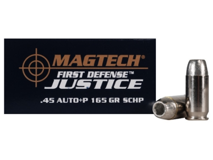 Magtech First Defense Justice Ammunition 45 ACP +P 165 Grain Solid Copper Hollow Point Lead-Free Box of 20