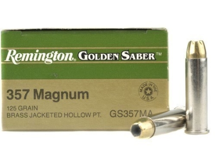 Remington Golden Saber Ammunition 357 Magnum 125 Grain Brass Jacketed Hollow Point Box of 25