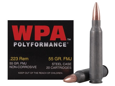 Wolf Ammunition 223 Remington 55 Grain Full Metal (Bi-Metal) Jacket Steel Case Box of 20