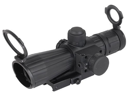 NcStar Mark 3 Tactical Rifle Scope 4x 32mm Blue Illuminated Rangefinder Reticle Matte with Red Laser and Quick Release Weaver-Style Base Rubber Armored Matte