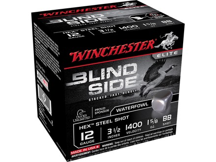 "Winchester Blind Side Ammunition 12 Gauge 3-1/2"" 1-5/8 oz BB Non-Toxic Steel Shot"