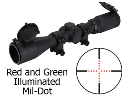 Leapers UTG Golden Image Rifle Scope 3-9x 40mm Red and Green Illuminated Mil-Dot Reticle Rubber Armored Matte