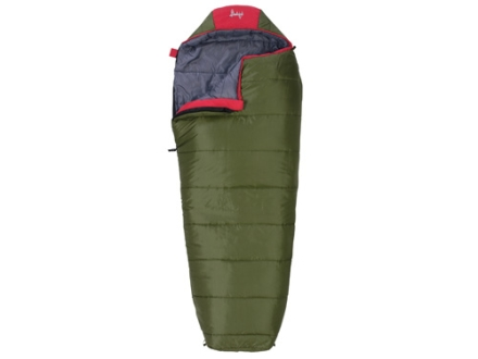 "Slumberjack Big Scout 30 Degree Youth Mummy Sleeping Bag 30"" x 72"" Polyester OD and Red"