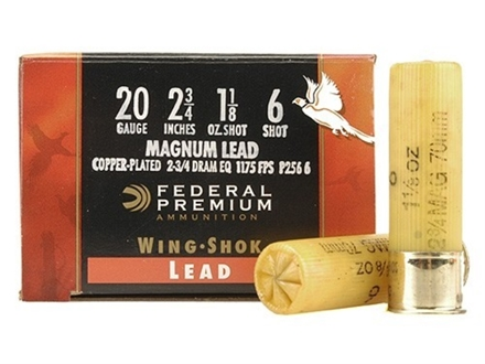 "Federal Premium Wing-Shok Ammunition 20 Gauge 2-3/4"" 1-1/8 oz Buffered #6 Copper Plated Shot Box of 25"