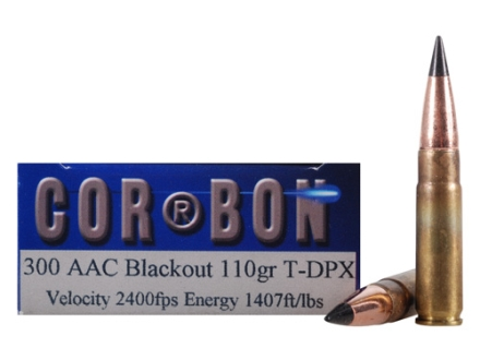 Cor-Bon T-DPX Hunter Ammunition 300 AAC Blackout 110 Grain Barnes Tipped Triple-Shock X Bullet Hollow Point Lead-Free Box of 20