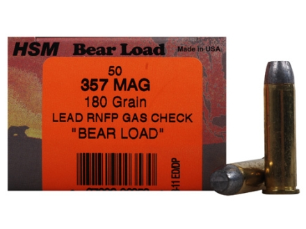 HSM Bear Ammunition 357 Magnum 180 Grain Round Nose Flat Point Gas Check Box of 50