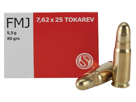 Sellier &amp; Bellot Ammunition 7.62x25mm Tokarev 85 Grain Full Metal Jacket Box of 50