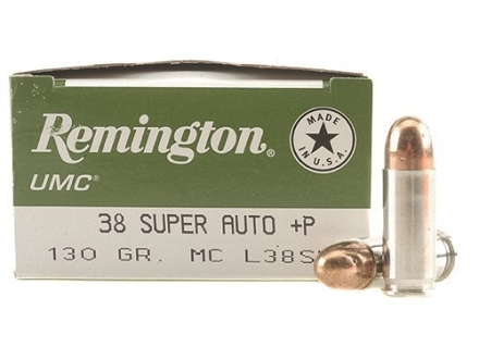 Remington UMC Ammunition 38 Super +P 130 Grain Full Metal Jacket Box of 50