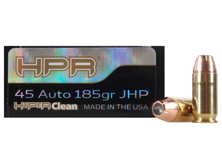HPR HyperClean Ammunition 45 ACP 185 Grain Hornady XTP Jacketed Hollow Point Box of 50