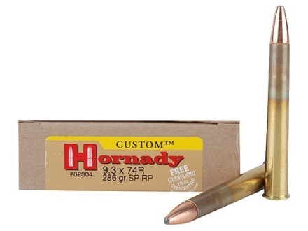 Hornady Dangerous Game Ammunition 9.3x74 Rimmed 286 Grain Spire Point Box of 20