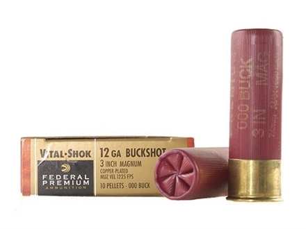 Federal Premium Vital-Shok Ammunition 12 Gauge 3&quot; Buffered 000 Copper Plated Buckshot 10 Pellets Box of 5