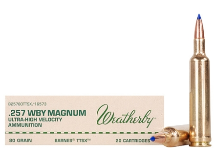 Weatherby Ammunition 257 Weatherby Magnum 80 Grain Barnes Tipped Triple-Shock X Bullet Hollow Point Lead-Free Box of 20