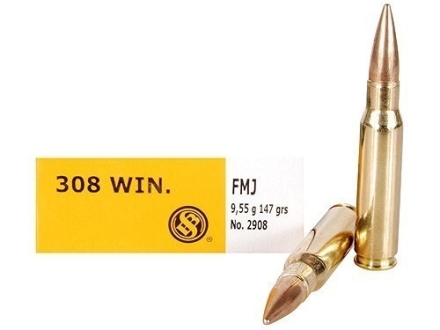 Sellier & Bellot Ammunition 308 Winchester 147 Grain Full Metal Jacket Box of 20