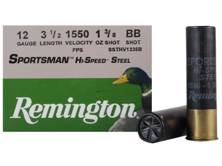 "Remington Sportsman Hi-Speed Ammunition 12 Gauge 3-1/2"" 1-3/8 oz BB Non-Toxic Steel Shot Box of 25"