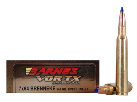 Barnes VOR-TX Ammunition 7x64mm Brenneke 140 Grain Tipped Triple-Shock X Bullet Boat Tail Lead-Free Box of 20