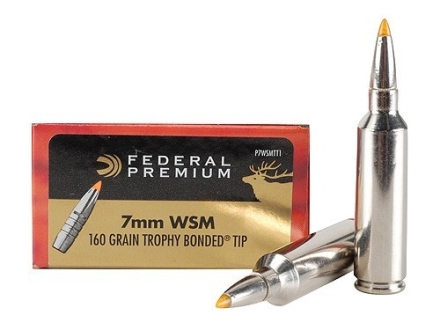 Federal Premium Ammunition 7mm Winchester Short Magnum (WSM) 160 Grain Trophy Bonded Tip Box of 20