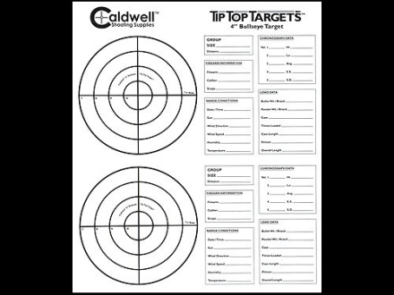Caldwell Tip Top Target 4&quot; Bullseye Package of 100