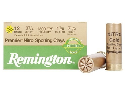 Remington Premier Nitro Gold Sporting Clays Target Ammunition 12 Gauge 2-3/4&quot; 1-1/8 oz #7-1/2 Shot High Velocity