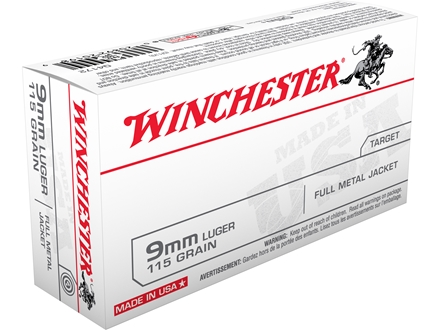 Winchester USA Ammunition 9mm Luger 115 Grain Full Metal Jacket Box of 50