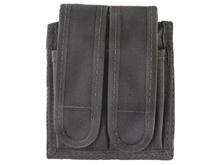 Uncle Mike&#39;s Universal Double Magazine Pouch Hook and Loop Closure Nylon Black