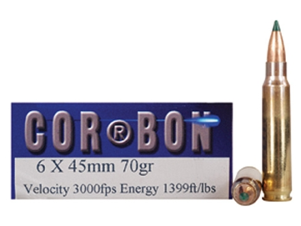 Cor-Bon Performance Match Ammunition 6x45mm 70 Grain Hollow Point Boat Tail Box of 20