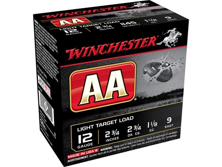 "Winchester AA Light Target Ammunition 12 Gauge 2-3/4"" 1-1/8 oz #9 Shot"