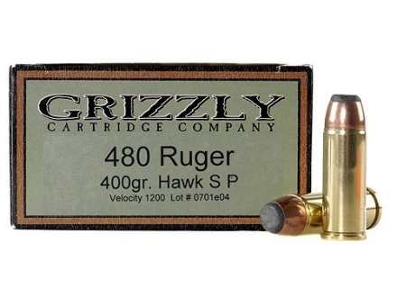 Grizzly Ammunition 480 Ruger 400 Grain Hawk Bonded Core Jacketed Flat Point Box of 20