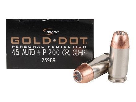 Speer Gold Dot Ammunition 45 ACP +P 200 Grain Jacketed Hollow Point Box of 20