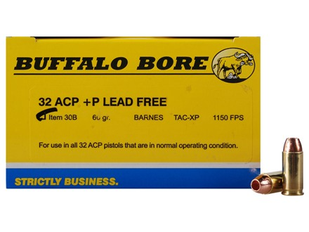 Buffalo Bore Ammunition 32 ACP +P 60 Grain Barnes TAC-XP Jacketed Hollow Point Lead-Free Box of 20