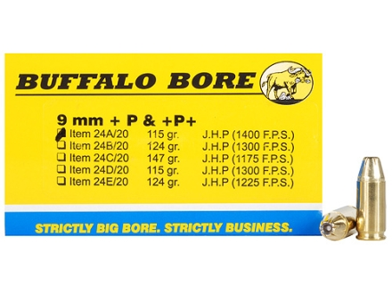 Buffalo Bore Ammunition 9mm Luger +P+ 115 Grain Jacketed Hollow Point Box of 20