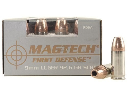 Magtech First Defense Ammunition 9mm Luger 92.6 Grain Solid Copper Hollow Point Lead-Free Box of 20