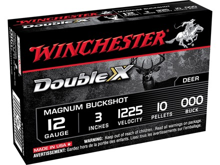 "Winchester Supreme Double X Magnum Ammunition 12 Gauge 3"" Buffered 000 Copper Plated Buckshot 10 Pellets Box of 5"