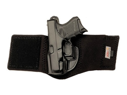 Galco Ankle Glove Holster Left Hand Glock 26, 27, 33 Leather with Neoprene Leg Band Black