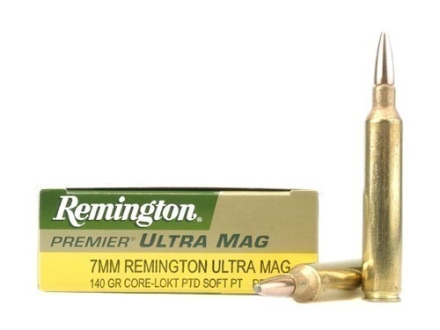 Remington Premier Ammunition 7mm Remington Ultra Magnum 140 Grain Core-Lokt Ultra Bonded Pointed Soft Point Box of 20