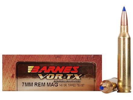 Barnes VOR-TX Ammunition 7mm Remington Magnum 140 Grain Tipped Triple-Shock X Bullet Boat Tail Lead-Free Box of 20