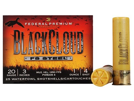 Federal Premium Black Cloud Ammunition 20 Gauge 3&quot; 1 oz #4 Non-Toxic FlightStopper Steel Shot Box of 25