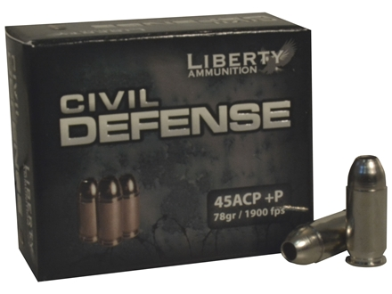 Liberty USM4 Ammunition 45 ACP +P 78 Grain Fragmenting Hollow Point Lead-Free Box of 20