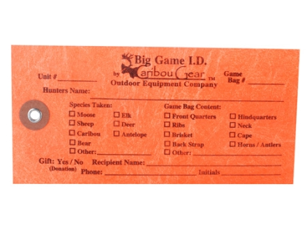 Caribou Gear Big Game I.D. Game Meat Bag Tags Orange