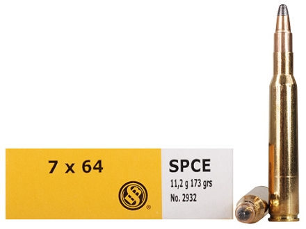 Sellier &amp; Bellot Ammunition 7x64mm Brenneke 173 Grain Soft Point Cutting Edge Box of 20