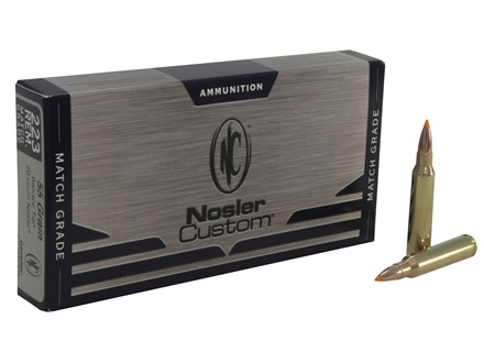 Nosler Custom Ammunition 223 Remington Match 55 Grain Ballistic Tip Varmint Box of 20