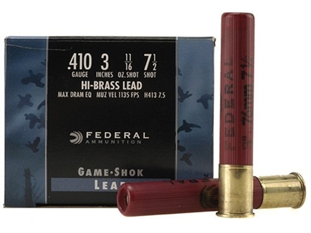 Federal Game-Shok Hi-Brass Ammunition 410 Bore 3&quot; 11/16 oz #7-1/2 Shot Box of 25
