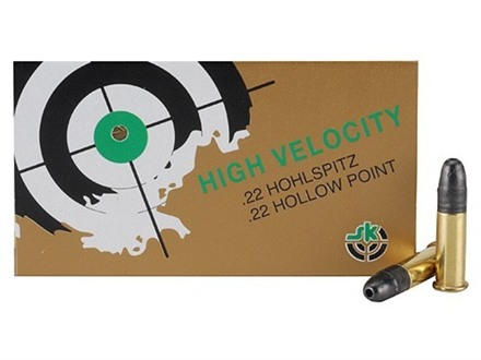 SK High Velocity HP Ammunition 22 Long Rifle 40 Grain Lead Hollow Point Nose Box of 500 (10 Boxes of 50)