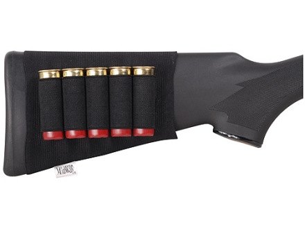 MidwayUSA Buttstock Shotshell Ammunition Carrier 5-Round Elastic Black
