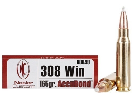 Nosler Trophy Grade Ammunition 308 Winchester 165 Grain AccuBond Box of 20