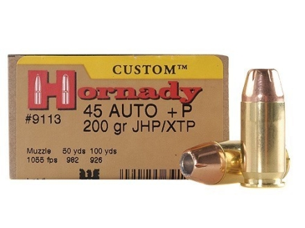 Hornady Custom Ammunition 45 ACP +P 200 Grain XTP Jacketed Hollow Point Box of 20