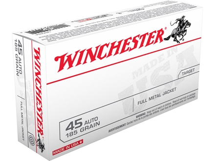 Winchester USA Ammunition 45 ACP 185 Grain Full Metal Jacket Flat Nose Box of 50