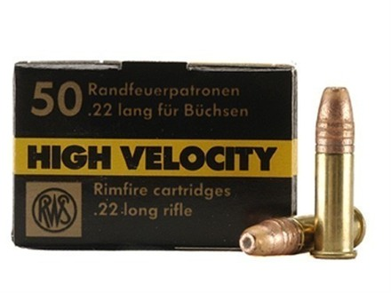 RWS High Velocity Ammunition 22 Long Rifle 40 Grain Lead Hollow Point Box of 500 (10 Boxes of 50)