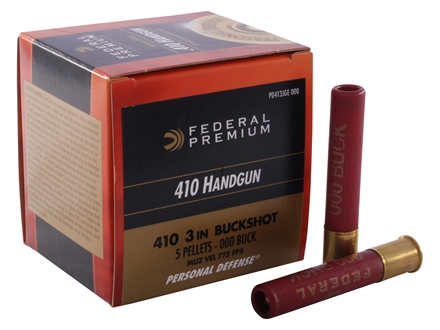"Federal Premium Personal Defense Ammunition 410 Bore 3"" 000 Buckshot 5 Pellets Box of 20"