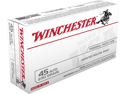 Winchester USA Ammunition 45 ACP 230 Grain Jacketed Hollow Point Box of 50