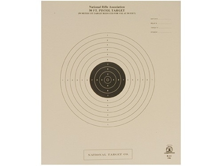 NRA Official International Pistol Target B-11 50&#39; Slow Fire Paper Package of 100
